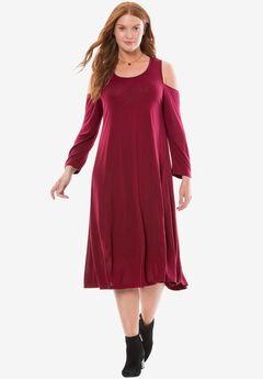 Chelsea Studio® Cold shoulder dress, CORDIAL, hi-res