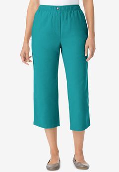 Elastic-Waist Cotton Capri, WATERFALL