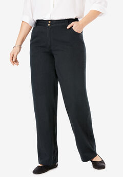 Wide Leg Cotton Jean, BLACK