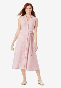 Button-Front Linen Shirtdress,
