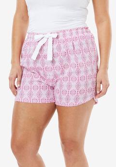 Cotton Print Pajama Short by Dreams & Co.®, PINK DIAMOND, hi-res