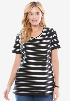 Perfect Printed V-Neck Tee, BLACK WHITE DOUBLE STRIPE, hi-res