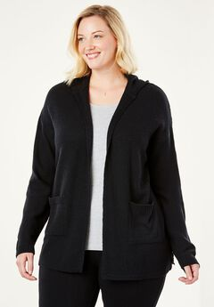 Side-Laced Hooded Cardigan Chelsea Studio®, CLASSIC BLACK, hi-res