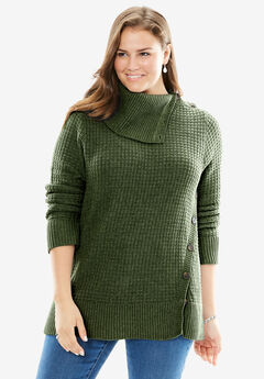 Button-Neck Waffle Knit Sweater, FOREST GREEN
