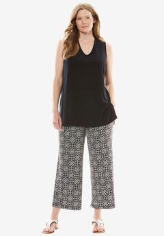 Soft knit printed pants set,