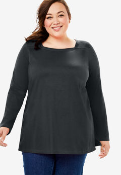 Perfect Square Neck Long Sleeve Tee,
