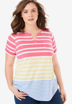 Striped Notch Neck Tee, BRIGHT PINK MIXED STRIPE