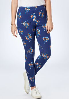 Stretch Cotton Printed Legging, BLUE RED FLORAL