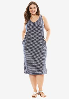 Side Slit V-Neck Midi Dress, NAVY STAR, hi-res