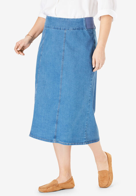b01423261f Smooth Waist A-Line Denim Skirt| Plus Size Skirts | Woman Within