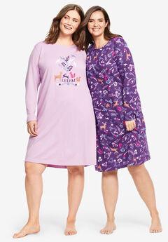 2-Pack Long-Sleeve Sleepshirts by Dreams & Co.®, RICH VIOLET WOODLAND