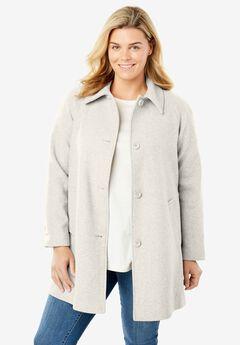 Wool-Blend Classic A-Line Coat, HEATHER SAND