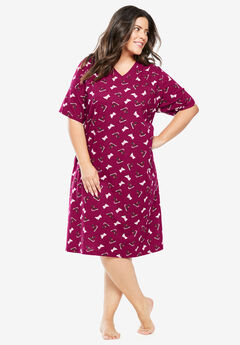 Print Sleepshirt by Dreams & Co.®, POMEGRANATE SCOTTIES