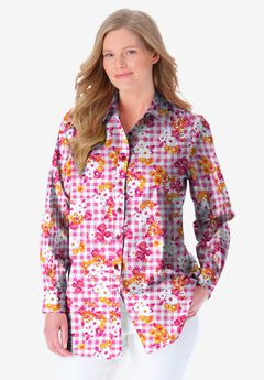 Perfect Long-Sleeve Button Down Shirt, CRYSTAL BERRY FLORAL GINGHAM