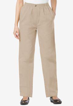 Elastic-Waist Cotton Straight Leg Pant, NATURAL KHAKI