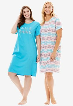 2-Pack Sleepshirt by Dreams & Co.®, RISE AND SHINE, hi-res