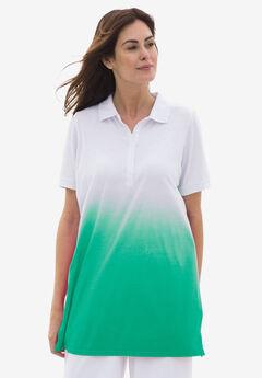 Dip-Dye Polo Tunic, TROPICAL EMERALD OMBRE