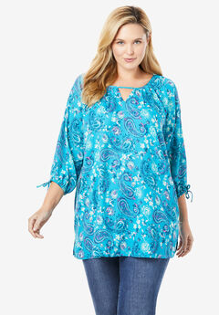 Three-Quarter Sleeve Keyhole Tunic,