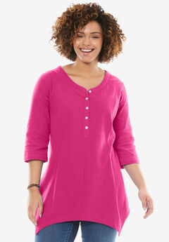 V-neck Henley Tunic, PASSION PINK, hi-res
