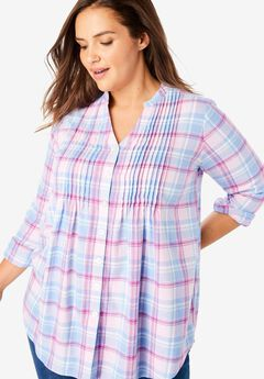 Pintucked Flannel Bigshirt,