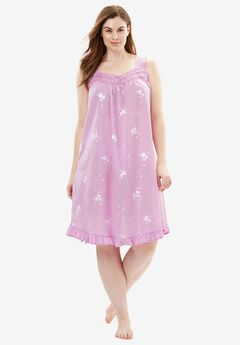 Short Embroidered Nightgown by Dreams & Co.®, ORCHID PINK, hi-res