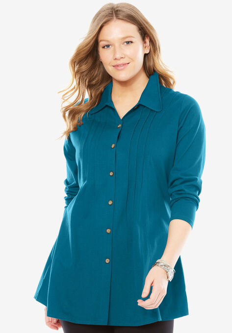 Pleated Button Front Tunic Woman Within