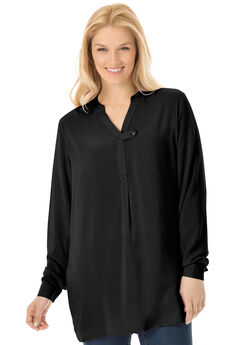 Tab-Front Long Sleeve Shirt, BLACK