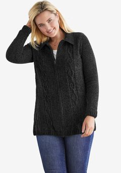 Chenille Zip Cable Cardigan,