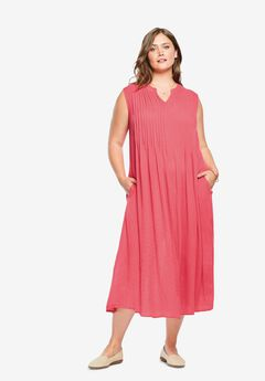 Sleeveless Pintuck Crinkle Dress, ROSE PINK