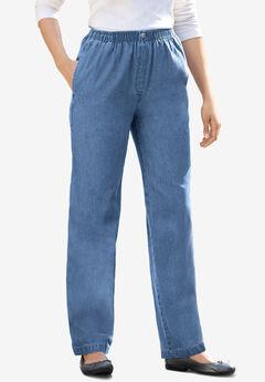 Elastic-Waist Cotton Straight Leg Pant,