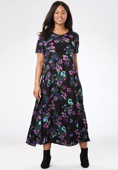 Crinkle Dress, BLACK PAINTERLY FLORAL