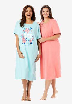 2-Pack Long Sleepshirts by Dreams & Co.®, PALE OCEAN SUMMER DREAMING