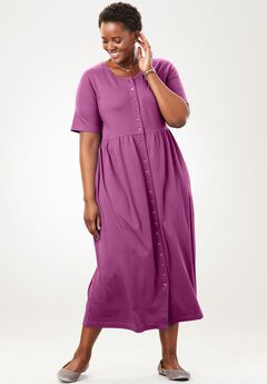 Empire knit dress by Only Necessities®, MAGENTA BERRY