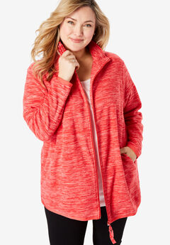 Zip-Front Microfleece Jacket, RED MARLED