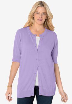Perfect Elbow-Length Sleeve Cardigan, SOFT IRIS
