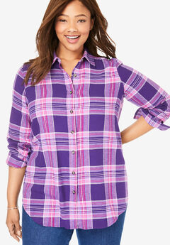 Classic Flannel Shirt, PURPLE MULTI PLAID
