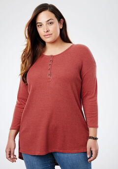 High-Low Thermal Henley Tunic, RED OCHRE