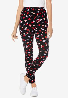 Stretch Cotton Printed Legging, BLACK TOSSED HEARTS