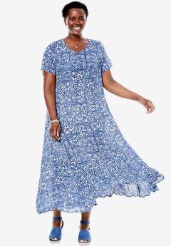 Short sleeve crinkle dress, DARK COBALT FLORAL PATCH, hi-res