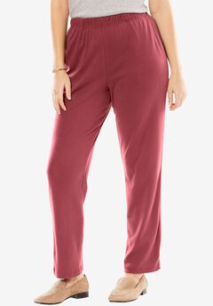 7-Day Knit Straight Leg Pant, RUBY WINE, hi-res