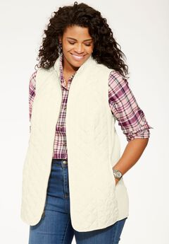 Diamond-Quilted Zip Front Vest, IVORY