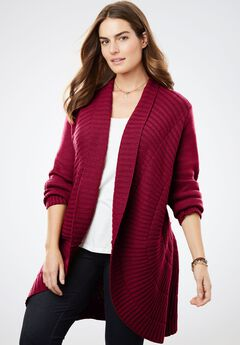 Open Front Pointelle Cardigan, RICH BURGUNDY