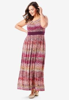 Banded Waist Print Maxi Dress,