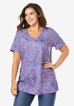 Perfect Printed V-Neck Tee, SOFT IRIS PAISLEY