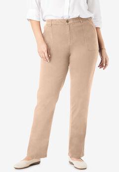 Sateen Straight Leg Utility Pant, NEW KHAKI