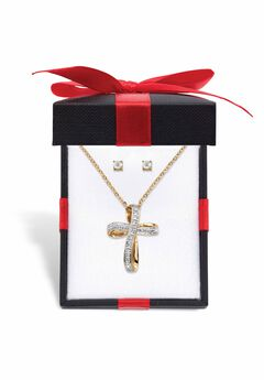 "Yellow Gold-Plated Cross Pendant with Genuine Diamond Accent on 18"" Chain,"