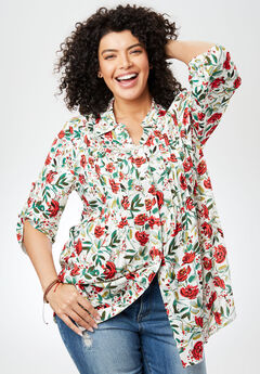 Tunic top with button-tab convertible sleeves, IVORY FLORAL, hi-res