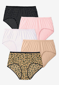 5-Pack Pure Cotton Full-Cut Brief , POLKA DOT PACK