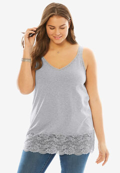 Lace V-neck Tank, HEATHER GREY, hi-res