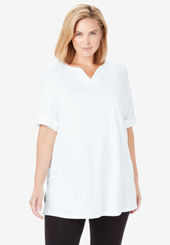 Rolled-Sleeve Notch Neck Perfect Tunic, WHITE